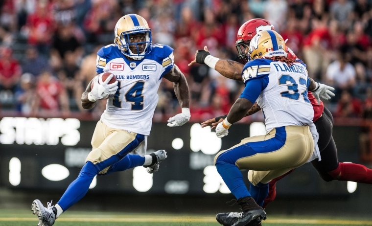 Quincy Mcduffie (14) of the Winnipeg Blue Bombers during the game against the Calgary Stampeders at McMahon stadium in Calgary, AB. Friday, July 1, 2016.  (Photo: Johany Jutras)