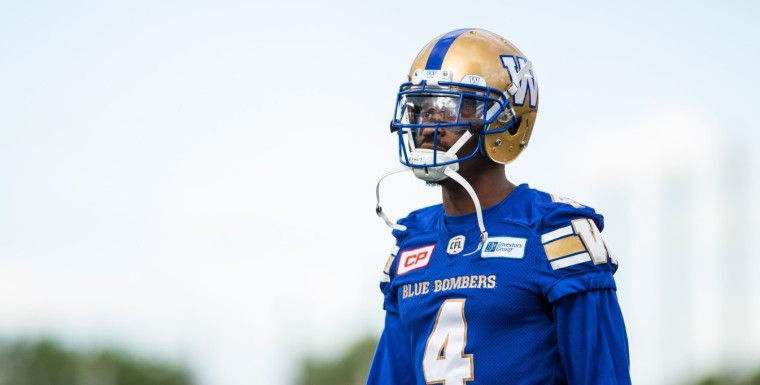 Darvin Adams (4) of the Winnipeg Blue Bombers during the pre-season game at TD Place in Ottawa, ON on Monday June 13, 2016. (Photo: Johany Jutras)
