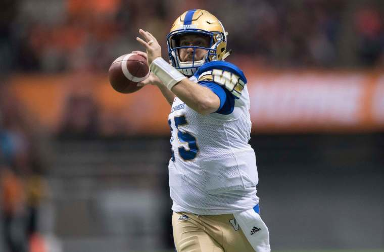 Winnipeg Blue Bombers quarterback Matt Nichols passes during first half western semifinal CFL football action against the B.C. Lions, in Vancouver on Sunday, November 13, 2016. THE CANADIAN PRESS/Darryl Dyck